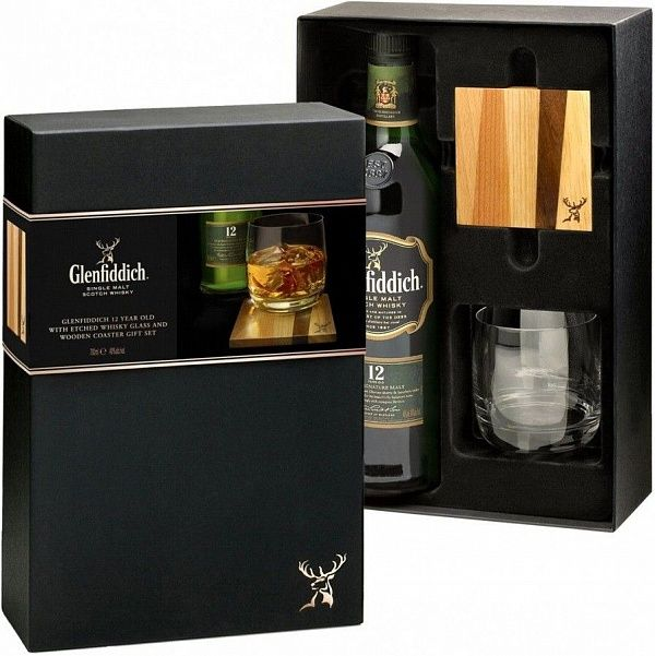 Glenfiddich 12 YO Gift set with glass and glass mat