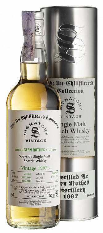 Glenrothes 21 YO 1997/2018 Un-Chillfiltered Signatory