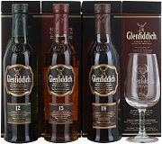 Glenfiddich Gift set with 3 bottles (12 YO, 15 YO, 18 YO) and glass, 3x200 Ml