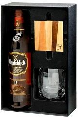 Glenfiddich 15 YO Gift set with glass and glass mat